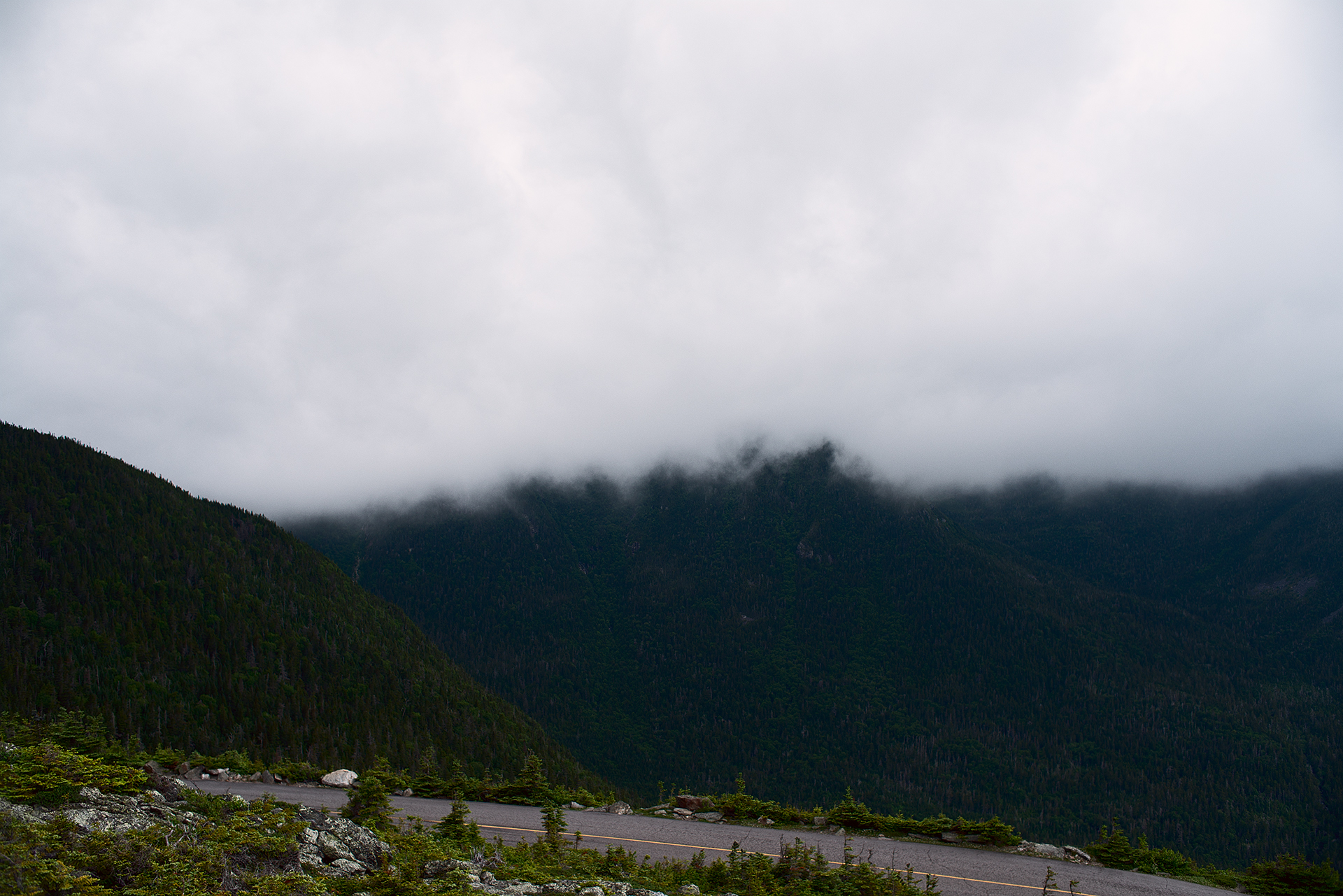 Rain clouds coming in on Mount Washington during Climb to the Clouds 2017
