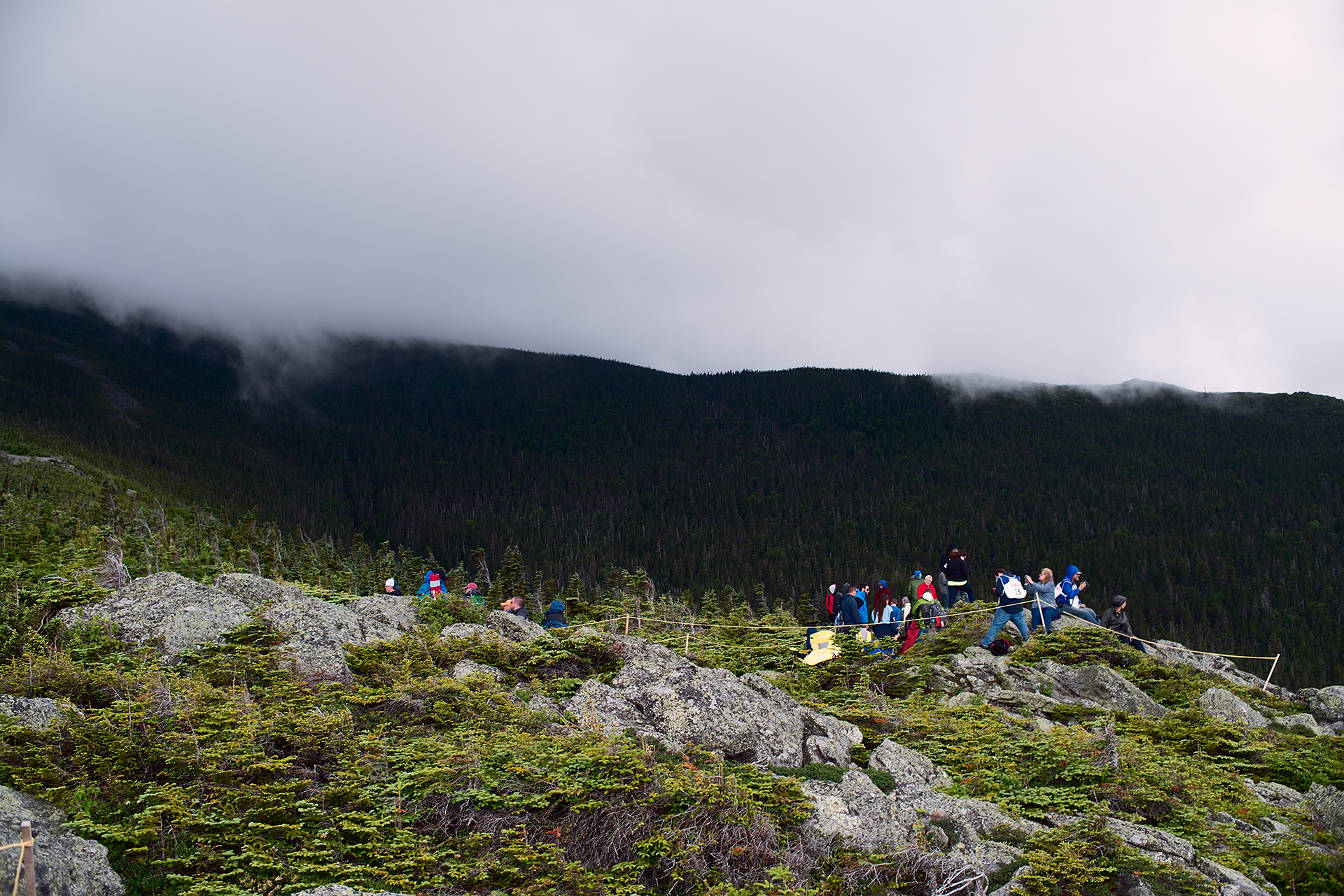Rain clouds coming in and rolling over the peaks on Mount Washington during Climb to the Clouds 2017