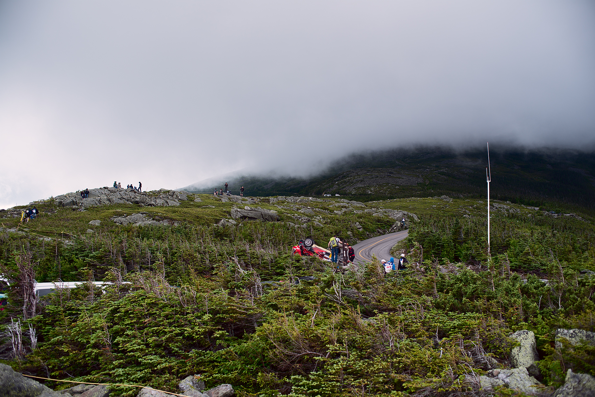 Rain clouds coming in almost to the half way point on Mount Washington during Climb to the Clouds 2017