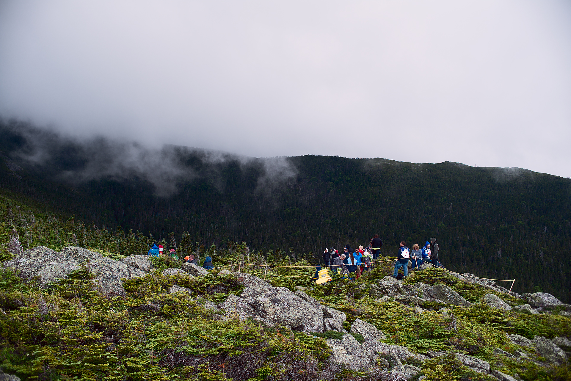 More clouds roll over the peaks at Mount Washington during Climb to the Clouds 2017