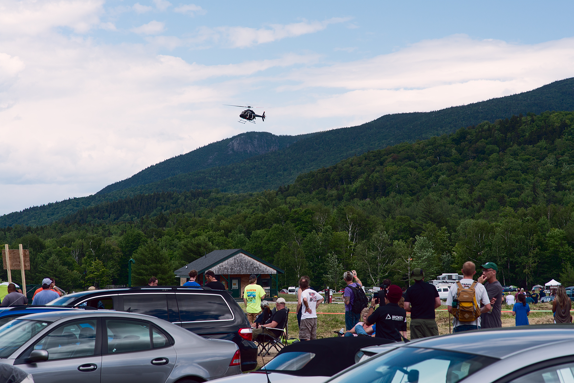 Helicopter taking off to follow Car 199 at Climb to the Clouds 2017