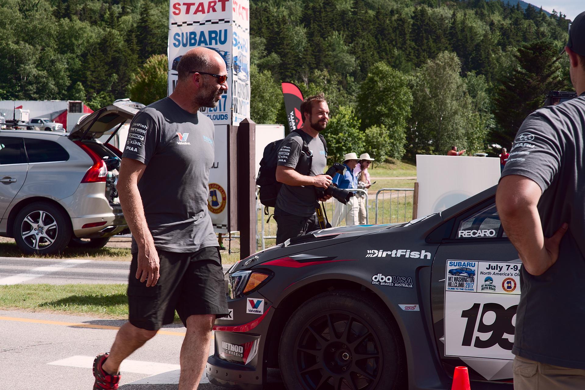 Team Subaru gathers around Car 199 at Climb to the Clouds 2017