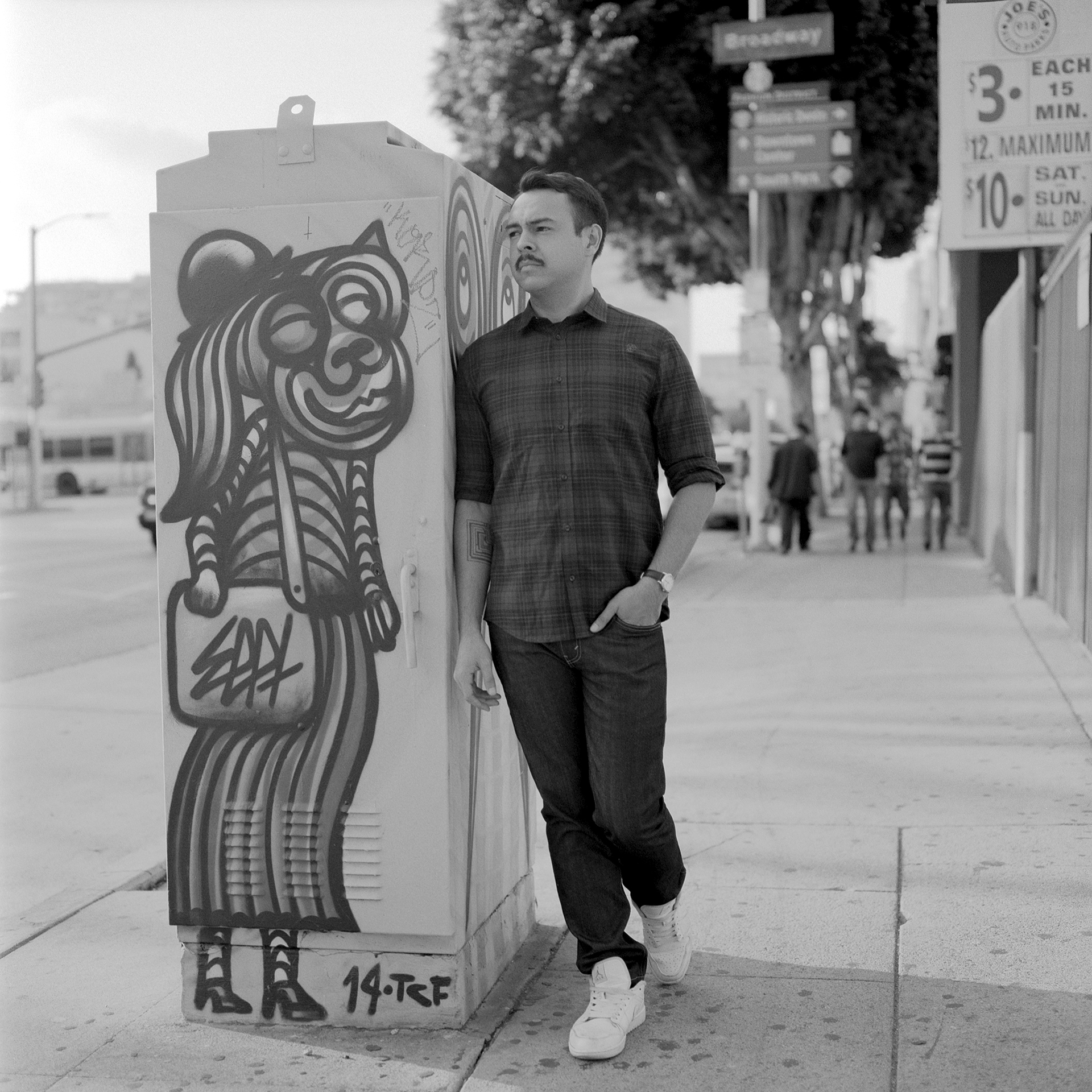 Full length portrait of musician Eat Paint in downtown Los Angeles
