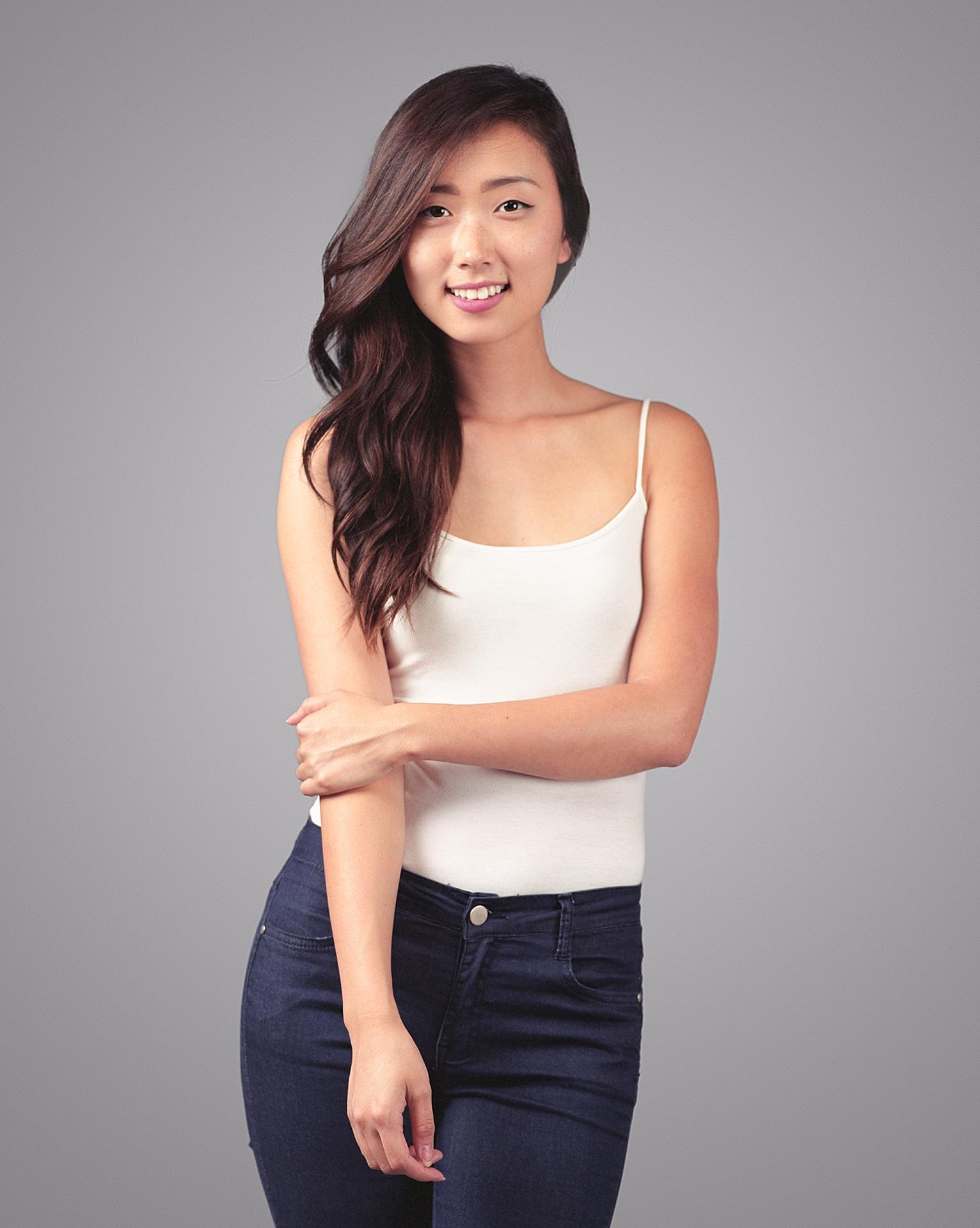 3/4 length studio portrait of Korean American model Shawna Kim